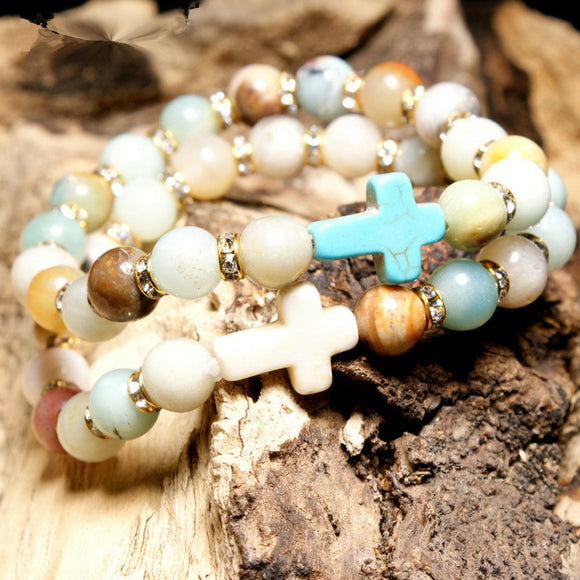 Natural Amazonite Stone Cross Bracelet