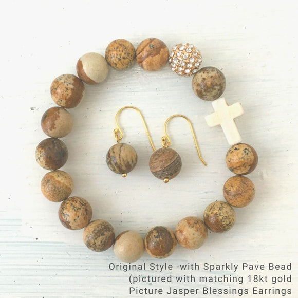 product top-view of Best-selling Natural Stone 'Thou Art With Me' Picture Jasper with Ivory Cross Bead Bracelet - Orignal style that has a sparkly pave ball and Matching Blessing Earrings