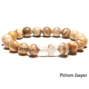 "Women's Simple ""Thou Art With Me"" Natural Stone Bead Cross Bracelet"