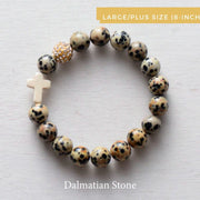 product top-view of 'Thou Art With Me' Dalmatian Stone with Ivory Cross Bead Bracelet-Plus sixe-8-inch
