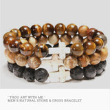 photo of the Mens 'Thou Art With Me' Natural Stone Bead Cross Bracelets Stacked together - Tiger Eye Picture Jasper and Lava Stone