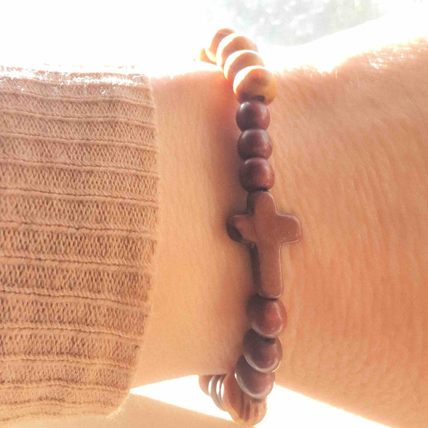 """Not my will, but Thine"" Olive Wood Bead Cross Bracelets (Set of 2)"