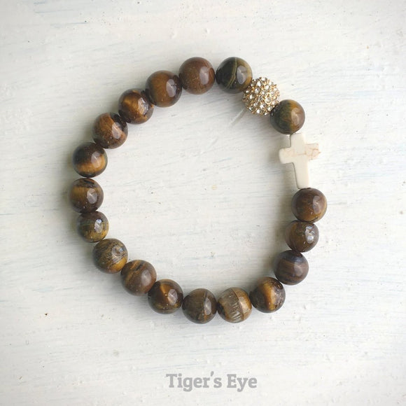 product top-view of the Natural Stone 'Thou Art With Me' Tiger's Eye with Ivory Cross Bead Bracelet - Orignal style that has a sparkly pave ball