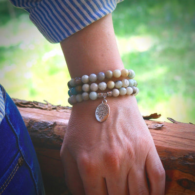 close-up of the Tree of Life Wrap Amazonite Bead Bracelet on Model's wrist