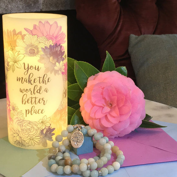Amazonite 'Tree of Life' Wrap Bracelet + Floral-Printed LED Candle Gift Set