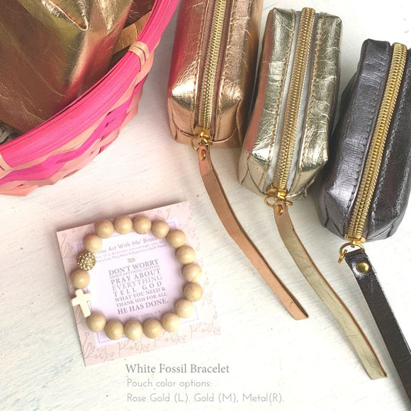 Thou Art With Me Bracelet + Pouch Set—White Fossil + Pouch