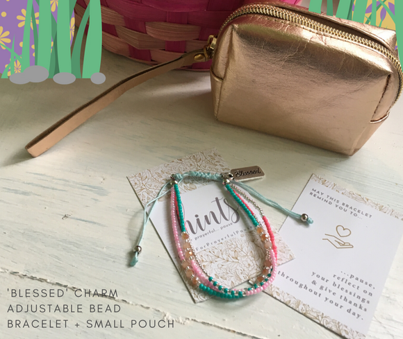 Spring Special! Multilayer Seed Bead Bracelet with Blessed Charm + Pouch