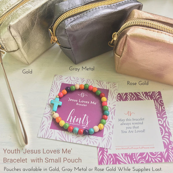 photo of the Colorful ' jesus loves me' Youth bead bracelet with black cross surrounded by zippered min-pouch options —Gold, Rose Gold, and Silver