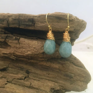 "Flat Lay of Jewelry - New! Amazonite Teardrop Earrings pictured with the matching ""Thou Art With Me' Amazonite Bracelet"