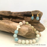 "Jewelry - New! Amazonite Teardrop Earrings pictured with the matching ""Thou Art With Me' Amazonite Bracelet displayed on driftwood"