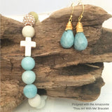 "Close-up Jewelry - New! Amazonite Teardrop Earrings pictured with the matching ""Thou Art With Me' Amazonite Bracelet displayed on driftwood"
