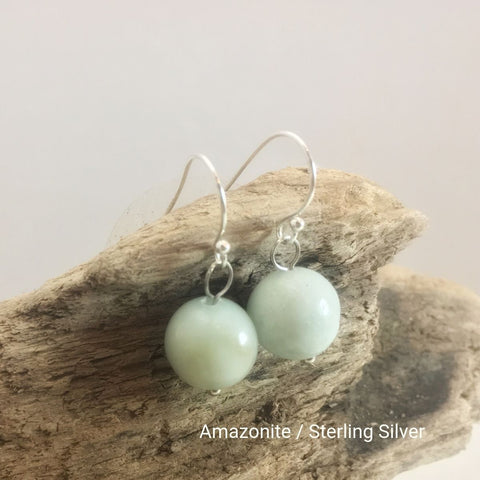 close-up of the  Natural Stone Blessing Earrings—Amazonite bead and Sterling Silver Hook