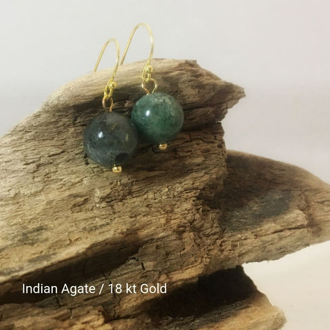 close-up of the Natural Stone Blessing Earrings—Indian Agate bead and Sterling Silver Hook plated in 18k gold