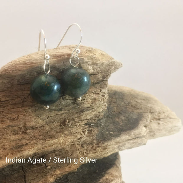 close-up of the Natural Stone Blessing Earrings—Indian Agate bead and Sterling Silver Hook