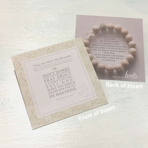 photo of the 'Thou Art With Me' front and back of the scripture card included with the bracelet