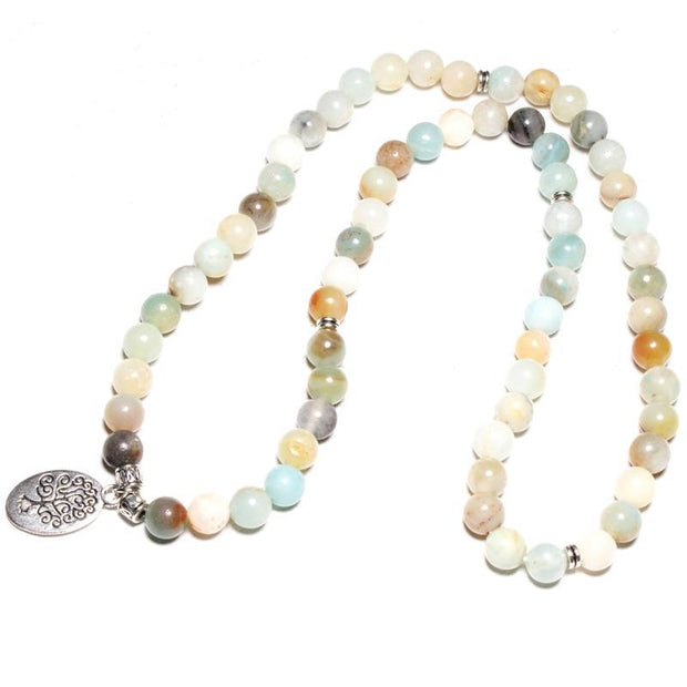 top view of the Tree of Life Wrap Amazonite Bead Bracelet on white background