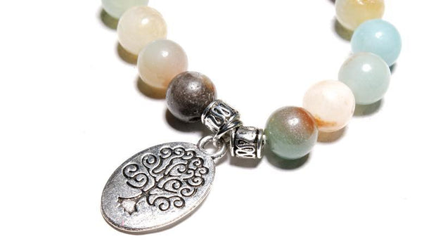 close-up of the Tree of Life Wrap Amazonite Bead Bracelet&