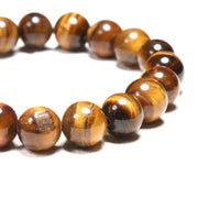 close-up of the Natural Stone 'Thou Art With Me' Tiger's Eye Beads