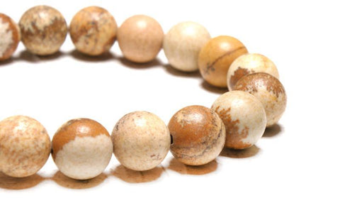 Close-up of the 10mm picture jasper bead