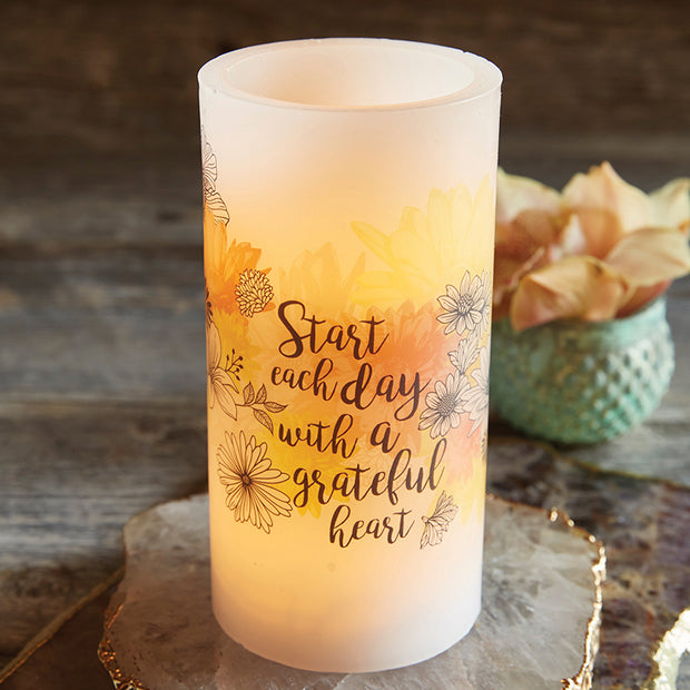 Front view of the LED Candle with Scripture Verse Start your day with a grateful heart surrounded by decor