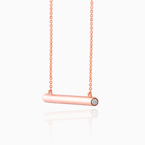 Bar Necklace with Crystal Sides, Rose Gold plated, with crystal insets, side view