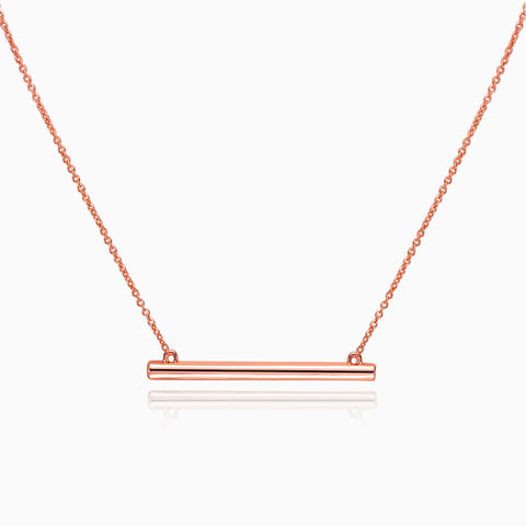 Bar Necklace with Crystal insets,  Rose Gold plated, front view, Iron&Bone