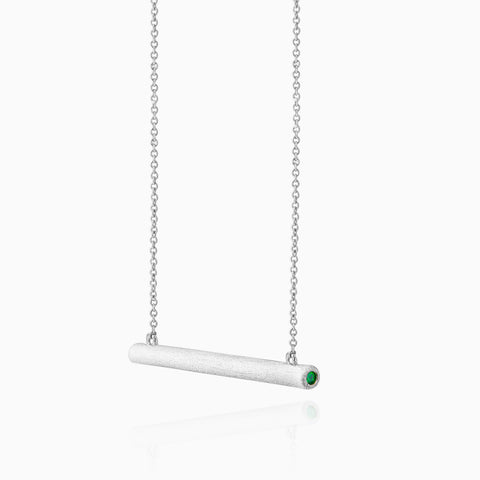 Bar Necklace with Crystal Sides - Sand-Blasted Finish, silver, green crystal, rhodium plated, side view