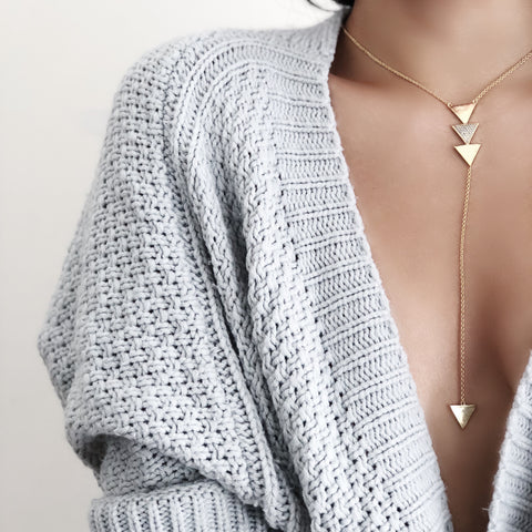 Triplet Y Necklace - Gold