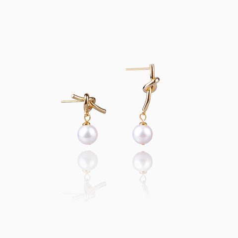 Akoya Pearl Bowtie Earrings