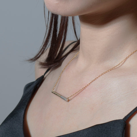 Dual-Toned Bar Necklace with Brush Finish