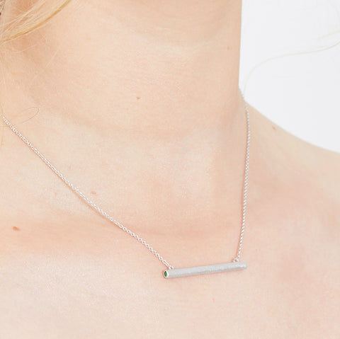 Bar Necklace with Crystal Sides - Sand-Blasted Finish