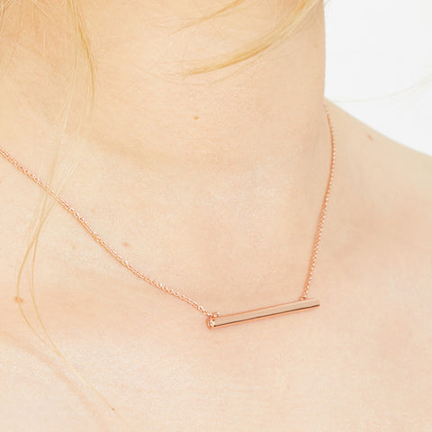 Bar Necklace with Crystal Sides - Rose Gold