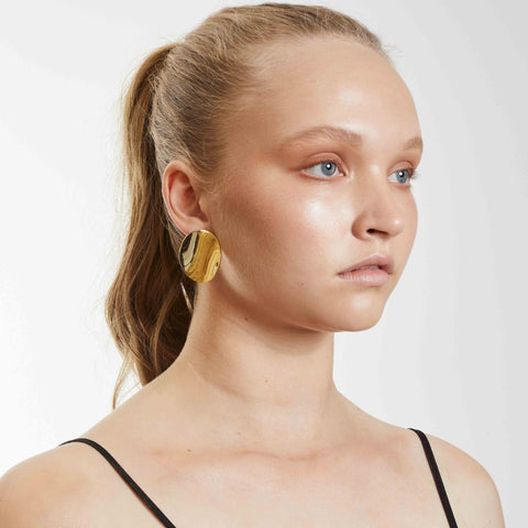 Twisted Disc Earrings - Gold