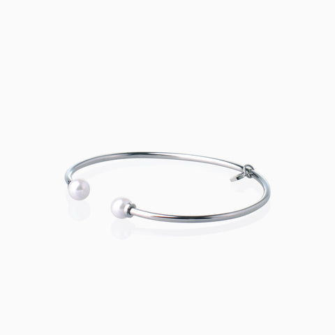 Double Pearl Open Bangle - Silver