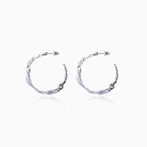 Rippling Swirl Hoop Earrings - Large