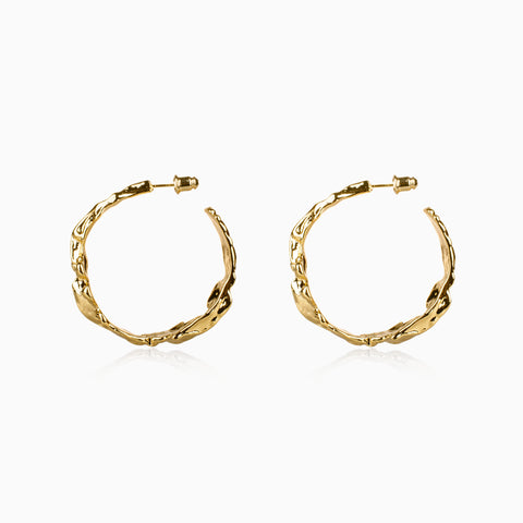 Rough Gold Hoop Earrings - Large
