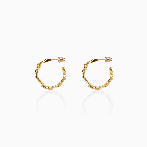 Rough Gold Hoop Earrings - Small
