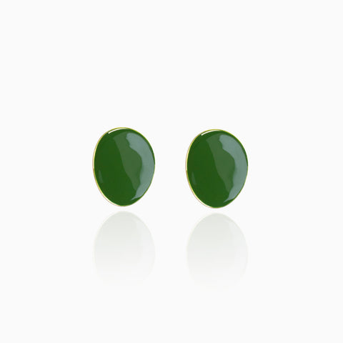 Twisted Disc Earrings - Green