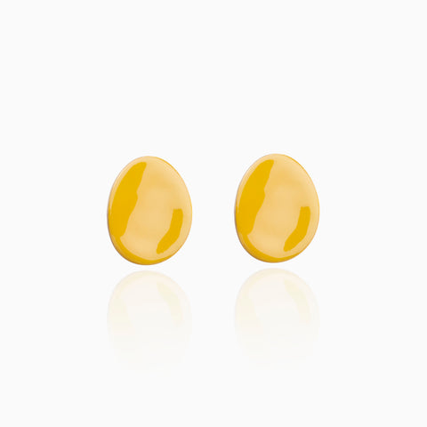 Twisted Disc Earrings - Yellow