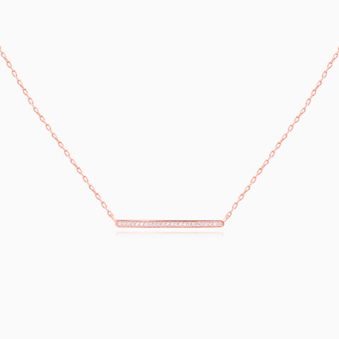 Crystal Bar Necklace - Rose Gold