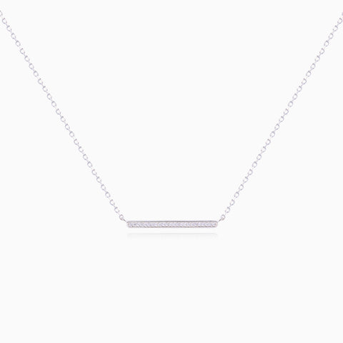Crystal Bar Necklace - Silver