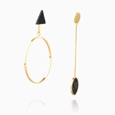 Contrasted Earrings - Black Marble