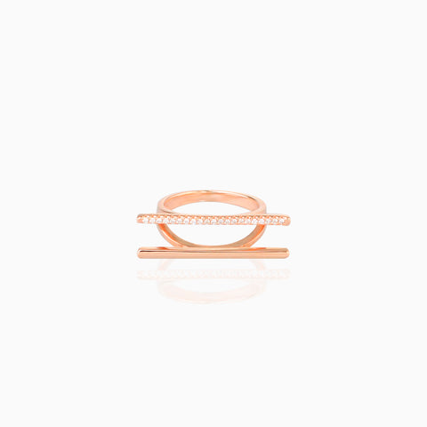 Iron&Bone Designer Silver Rings, Beautiful Silver Rings, Rose Gold, Double Bar Ring
