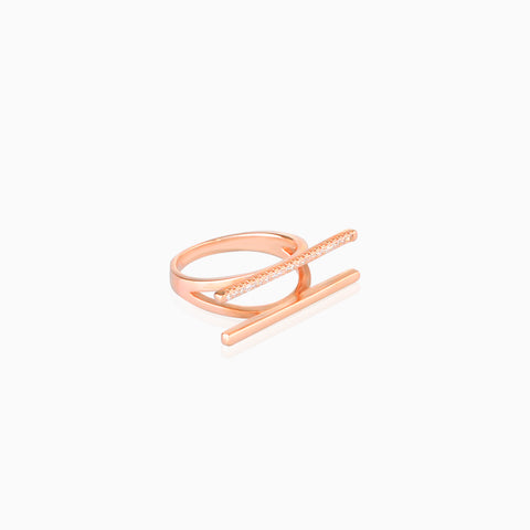 Iron&Bone Designer Silver Rings, Beautiful Silver Rings, Rose Gold, Double Bar Ring side view