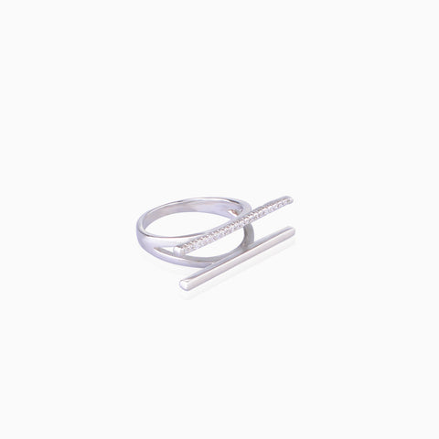 Iron&Bone Designer Silver Rings side view, Beautiful Silver Rings, Double Bar Rings