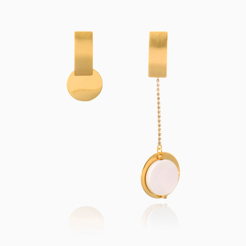 Asymmetrical Earrings, Contrasted Earrings - Gold Plated with Crystal Chain