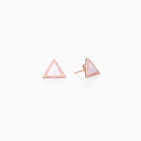 Mother-of-Pearl Triangle Stud - Rose Gold