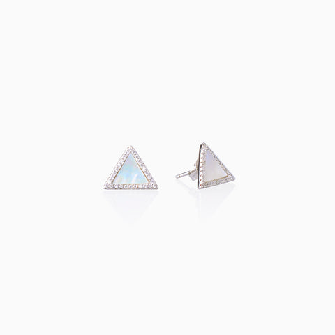 Mother-of-Pearl Triangle Stud - Silver