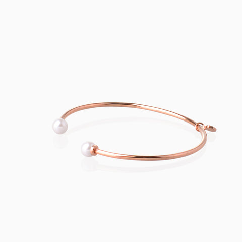 Double Pearl Open Bangle - Rose Gold