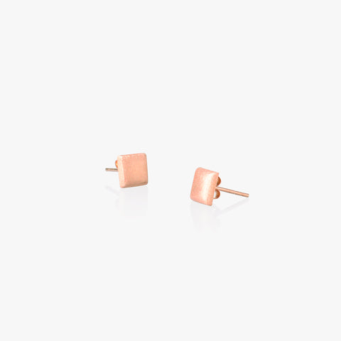 Sanded Square Stud - Rose Gold
